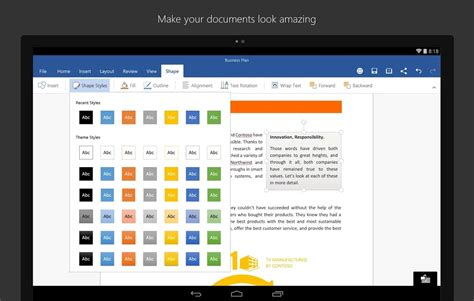 android word microsoft office for android tablets now available
