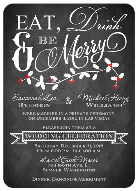 wedding reception invitation images winter wedding reception invitation eat drink be merry faux chalkboard leaves
