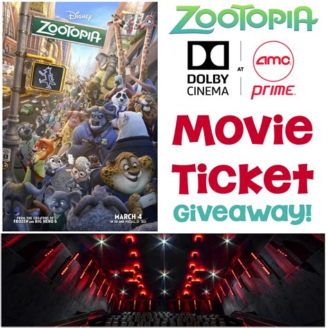 Giveaway Closed - zootopia movie ticket giveaway at dolby amc prime theater