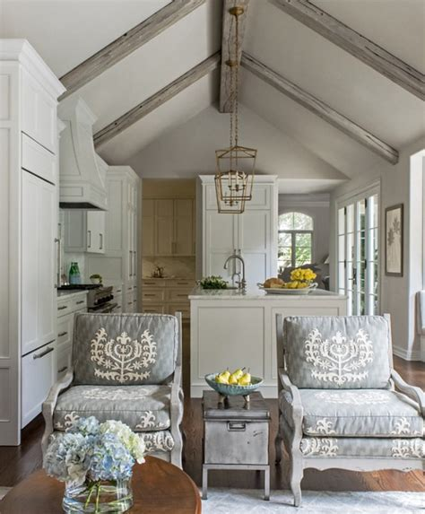 kitchen family room floor plan designer remodeled white kitchen with vaulted ceiling beams home