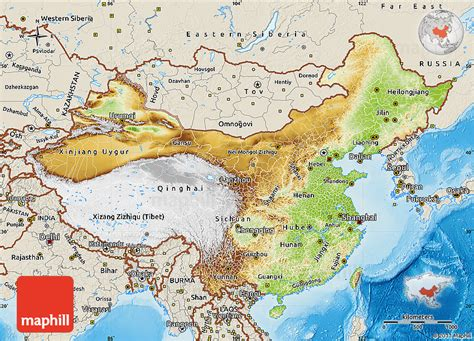 physical map of china physical map of china shaded relief outside
