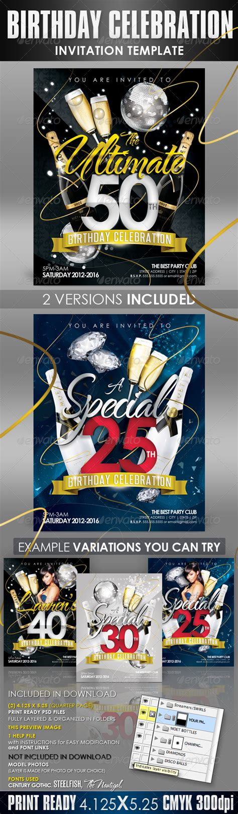 Birthday Invitation Templates Club Flyer Style By Creativb Graphicriver Club Wedd Invitation Templates