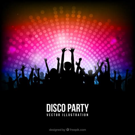 disco template disco poster with silhouettes vector free