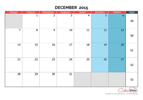 printable calendar dec 2015 uk monthly calendar month of december 2015 the week starts