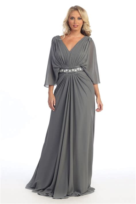Find On Plus Plus Size Grey Dress With Sleeves Prom Dresses Cheap