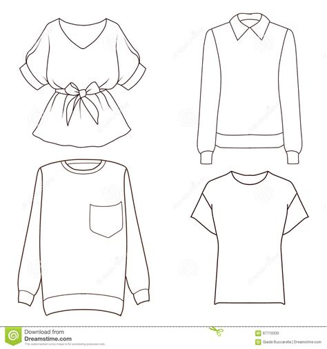 Set Of Four Different Tops Flat Fashion Sketch Template Stock Illustration Illustration Of T Shirt Template Sketch