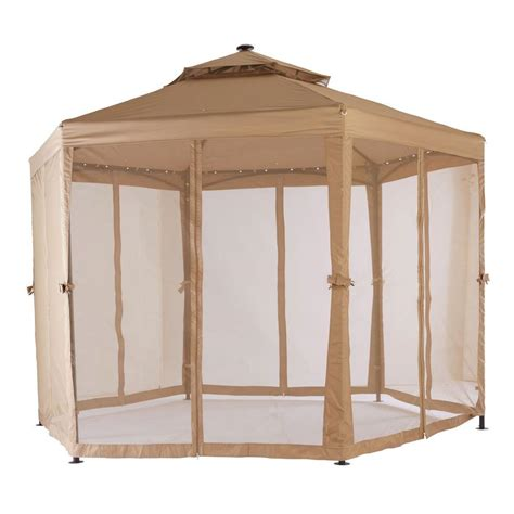 gazebo shop hton bay 10 ft x 10 ft solar led lighted gazebo