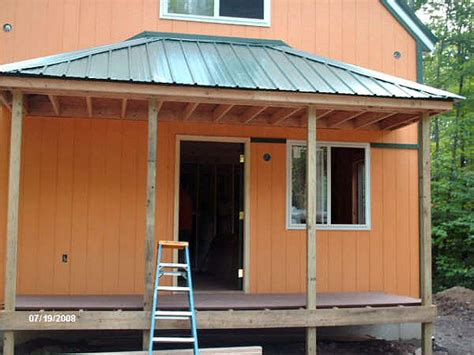 Hip Roof Porch Plans by 1 1 2 Story 20x34 Cabin