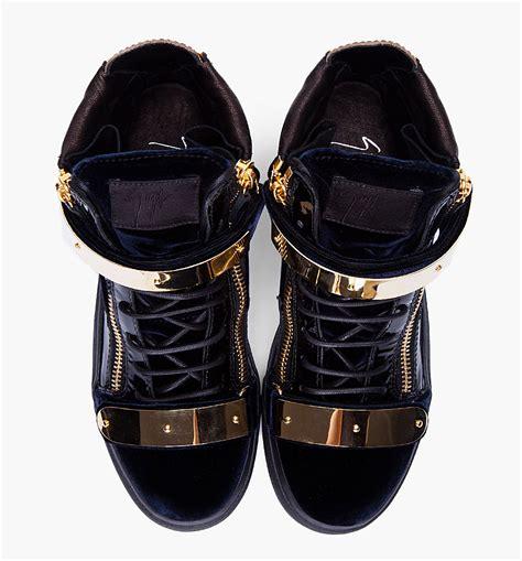 Heels Exclussive Katty Perry Black Gold giuseppe zanotti navy velvet and gold sneakers