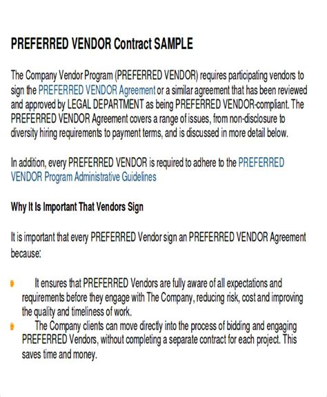 preferred vendor agreement template sle vendor agreement 17 exles in word pdf