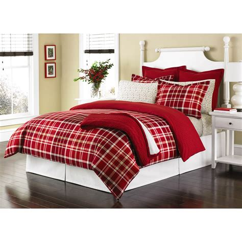 red plaid bedding martha stewart winter tartan red plaid full queen duvet