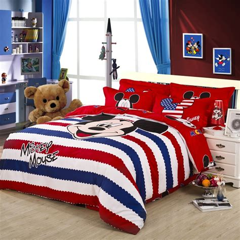 America Style Red Striped Mickey Mouse Duvet Cover Bedding Mickey Bedding