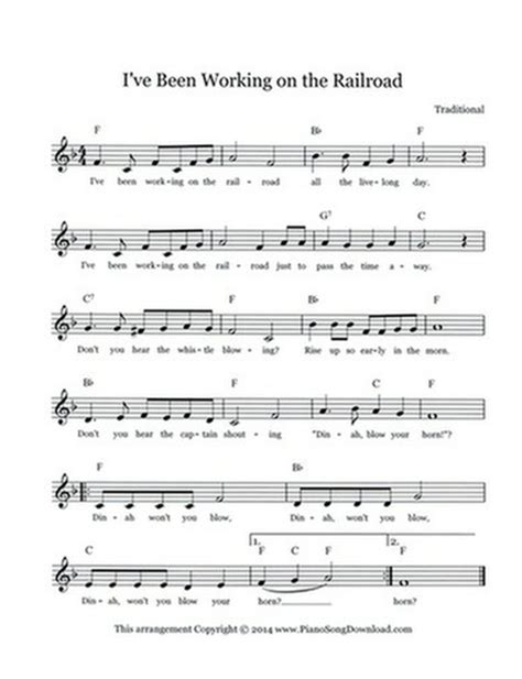 printable lyrics to i ve been working on the railroad i ve been working on the railroad free lead sheet with