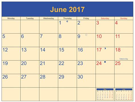 In June june 2017 moon phase calendar schedule free printable