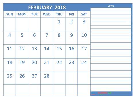 Blue Note Calendar February 2018 Calendar Printable Space For Notes Steel Blue