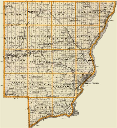 Peoria County Records Peoria County Illinois 1876 Historic Map Reprint