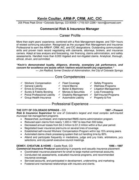 Insurance Officer Cover Letter by Insurance Manager Resume Exle Resume Exles Sle Resume And Resume Writing