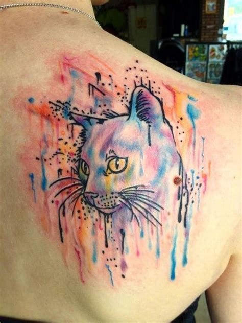 watercolor tattoo upper back great cat tattoos pictures tattooimages biz