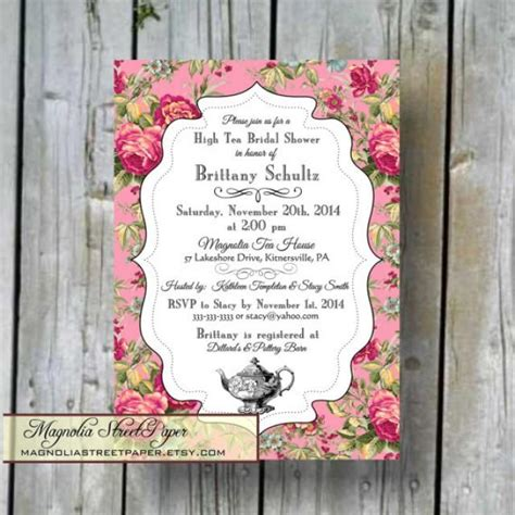 vintage shabby chic bridal shower invitations high tea bridal shower invitation custom printable high tea bridal diy bridal invitation