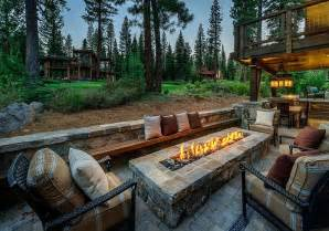 Natural Stone Outdoor Fireplace - stunning cabin retreat brings rustic texan charm to lake tahoe