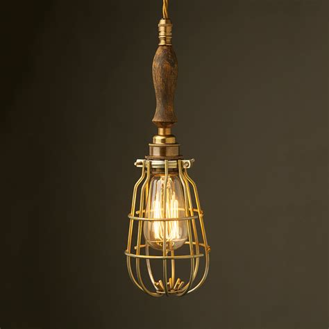 Antique Lighting Brass Trouble Light Cage Pendant Wooden Handle
