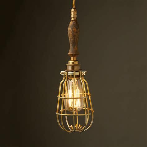 Cage Pendant Light Brass Trouble Light Cage Pendant Wooden Handle