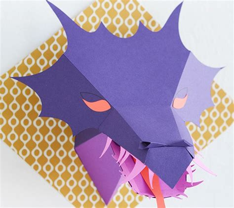 3d dragon head paper cutting template available with the