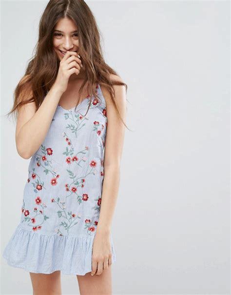 Glr Dress Berska Stripe bershka bershka embroidered and stripe cami dress