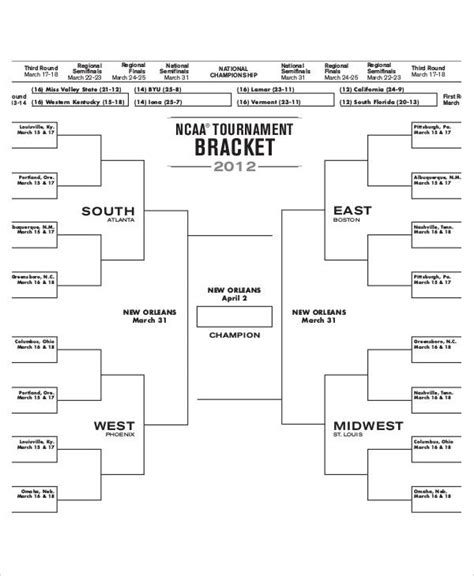 Bracket Template by College Basketball Bracket 7 Free Pdf Documents