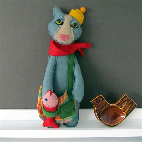Handmade Cat - handmade cat felt doll by thebigforest