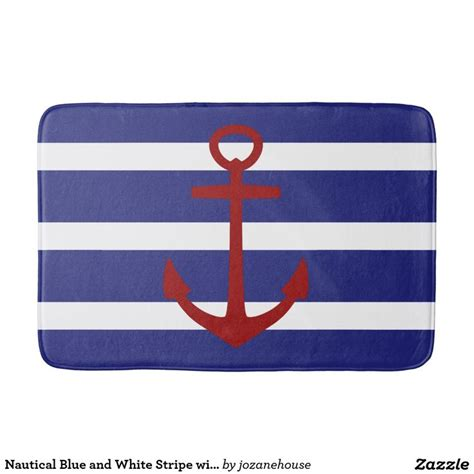 nautical blue and white stripe with anchor bathroom