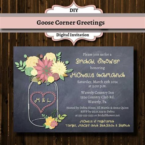 diy chalkboard bridal shower invitations chalkboard floral jar bridal shower invitation