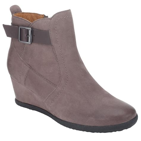 geox amelia stivali wedge ankle boots in gray coffee lyst