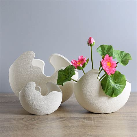 Make Flower Vase Home by Modern Broken Egg Design Ceramic Vase Tabletop Flower Vase