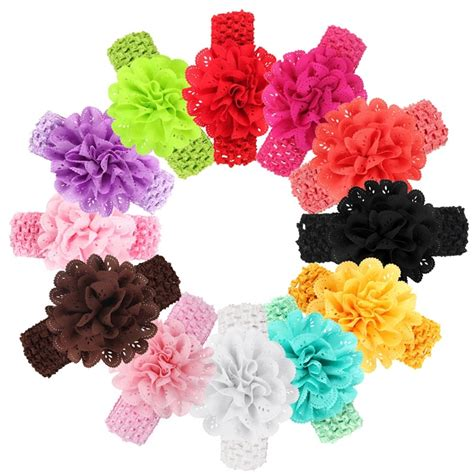 beautiful flower headwear baby elastic baby hearbands toddler beautiful shabby chiffon flower