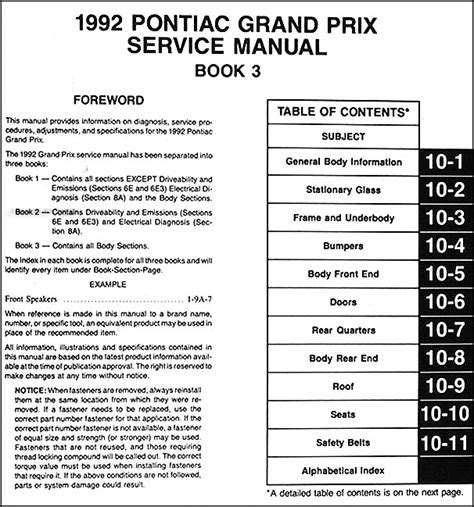 free service manuals online 2008 pontiac grand prix instrument cluster 1992 pontiac grand prix repair shop manual 3 volume set 92 original service oem ebay