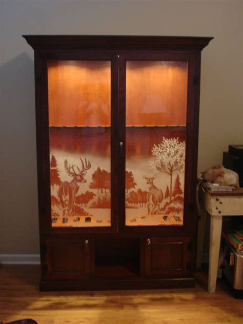 wood gun cabinet with etched glass wood shop looking for furniture plans cnc