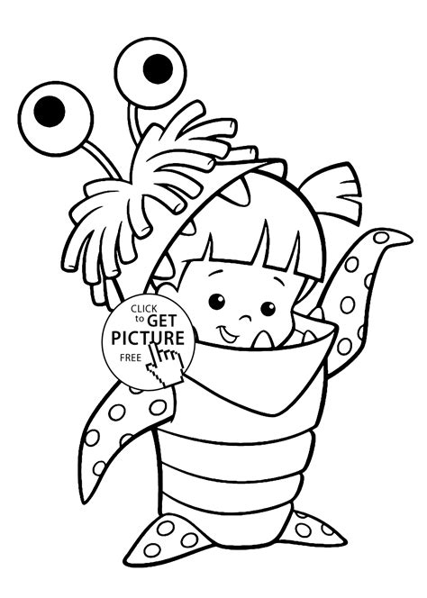 Boo Costume Monster Inc Coloring Pages For Kids Printable Inc Colouring Pages