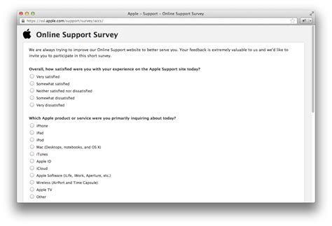 apple questions apple support asks visitors to take a quick survey