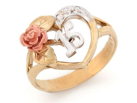 tri color gold 15 anos quinceanera cz ring jl