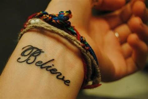 believe word tattoo designs stylish wrist tattoos ideas for