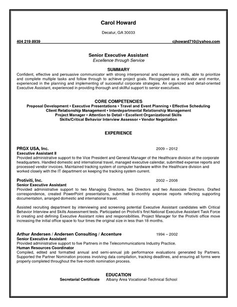 resume senior administrative assistant