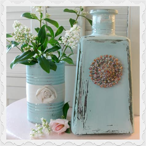 Diy Glass Bottle Decor by Glass Bottle And Tin Can Repurpose