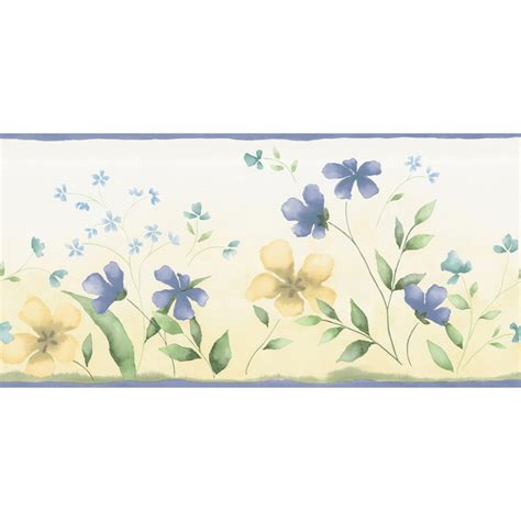 Blue Yellow Wallpaper Border | shop waverly 10 1 4 quot blue and yellow fresh picked