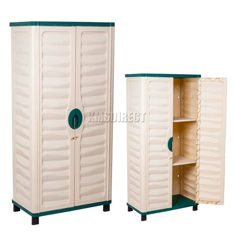 Plastic Outdoor Storage Cabinet Starplast Outdoor Plastic Garden Utility Cabinet With 2 Shelves Storage Green