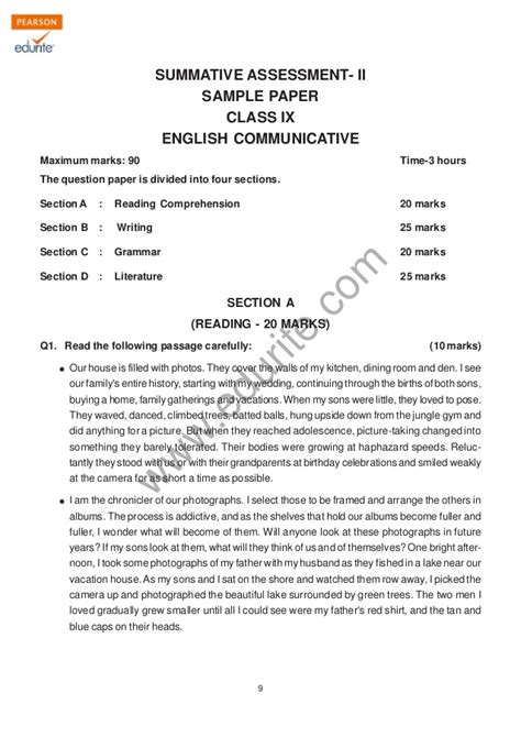 email format cbse for class 9 class 9 cbse english communicative sle paper term 2