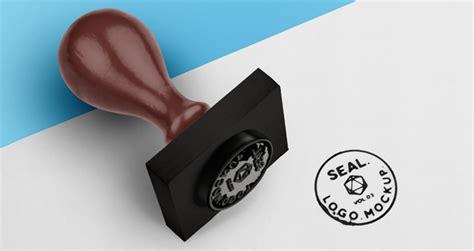 psd wood ink stamp seal mockup psd mock  templates