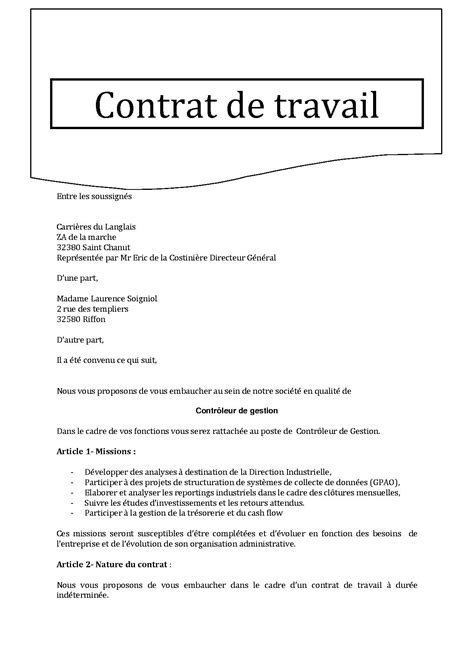 modele contrat de travail 2015 document