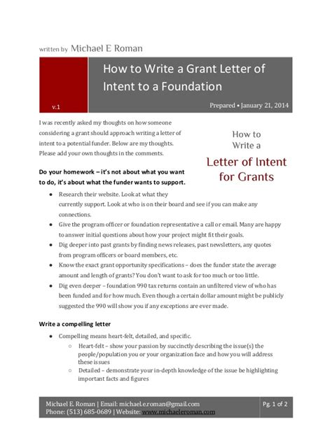 how to write a grant letter of intent to a foundation