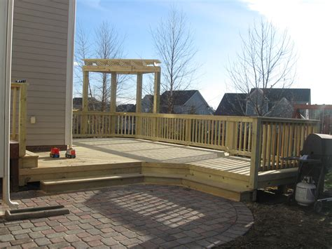 backyard patios and decks deck and patio combination is a great solution for